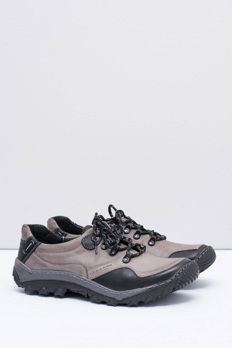 Men's Leather Grey Trekking Out Door Shoes Gretin