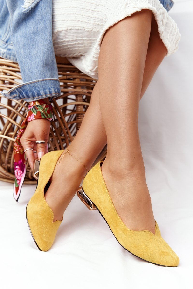 Ballerinas On Gold Heels Vinceza 21-10601 Yellow