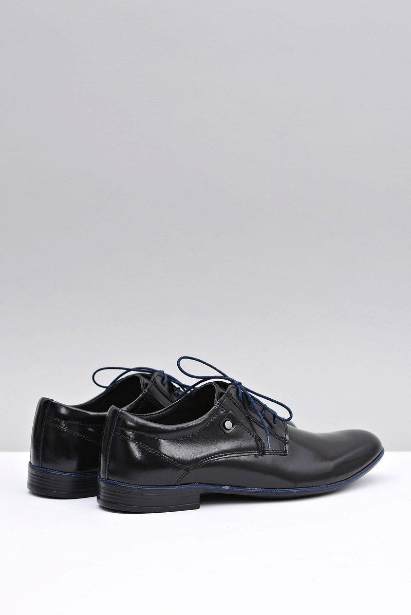 Black Leather Elegant Walking Shoes Massimiliano