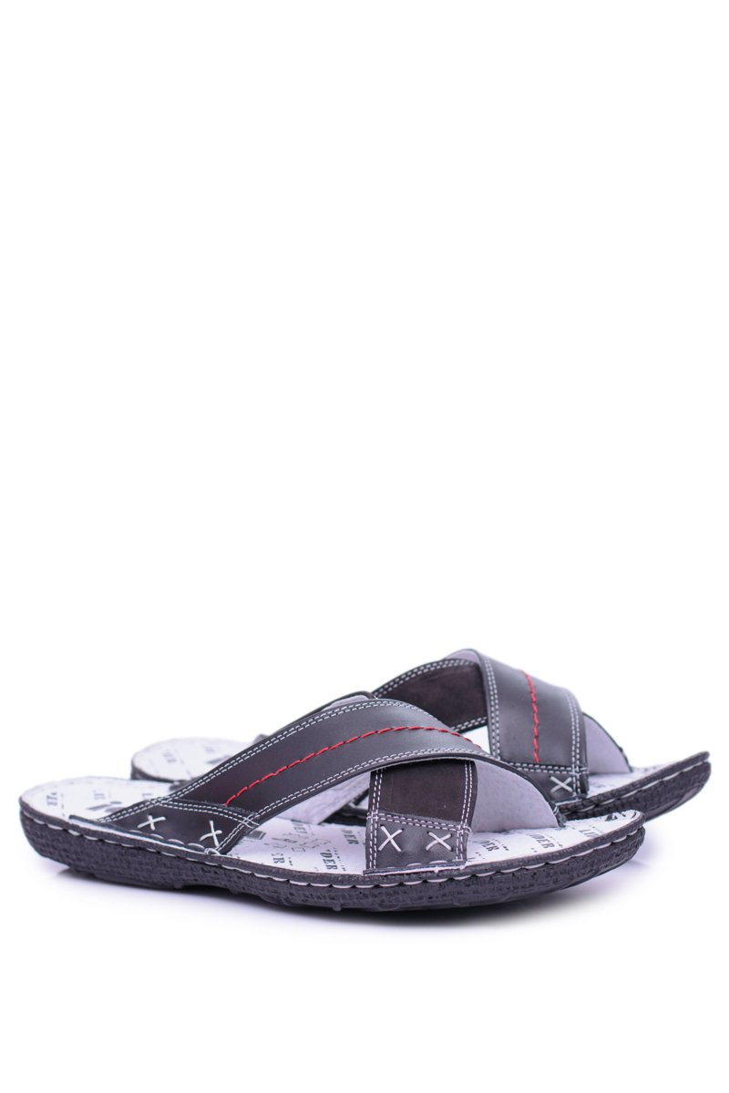 Black Lightweight Leather Men's Slippers Okay