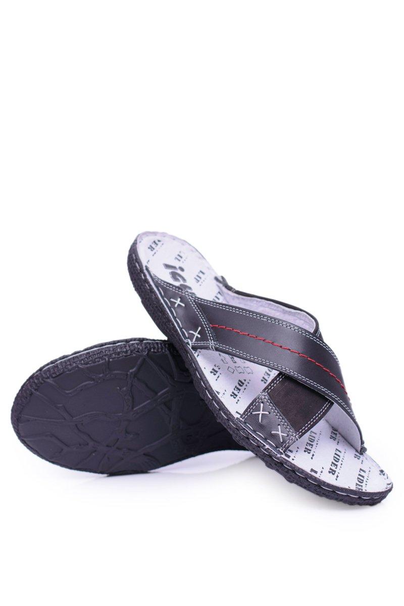 Black Lightweight Leather Men's Slippers Okay