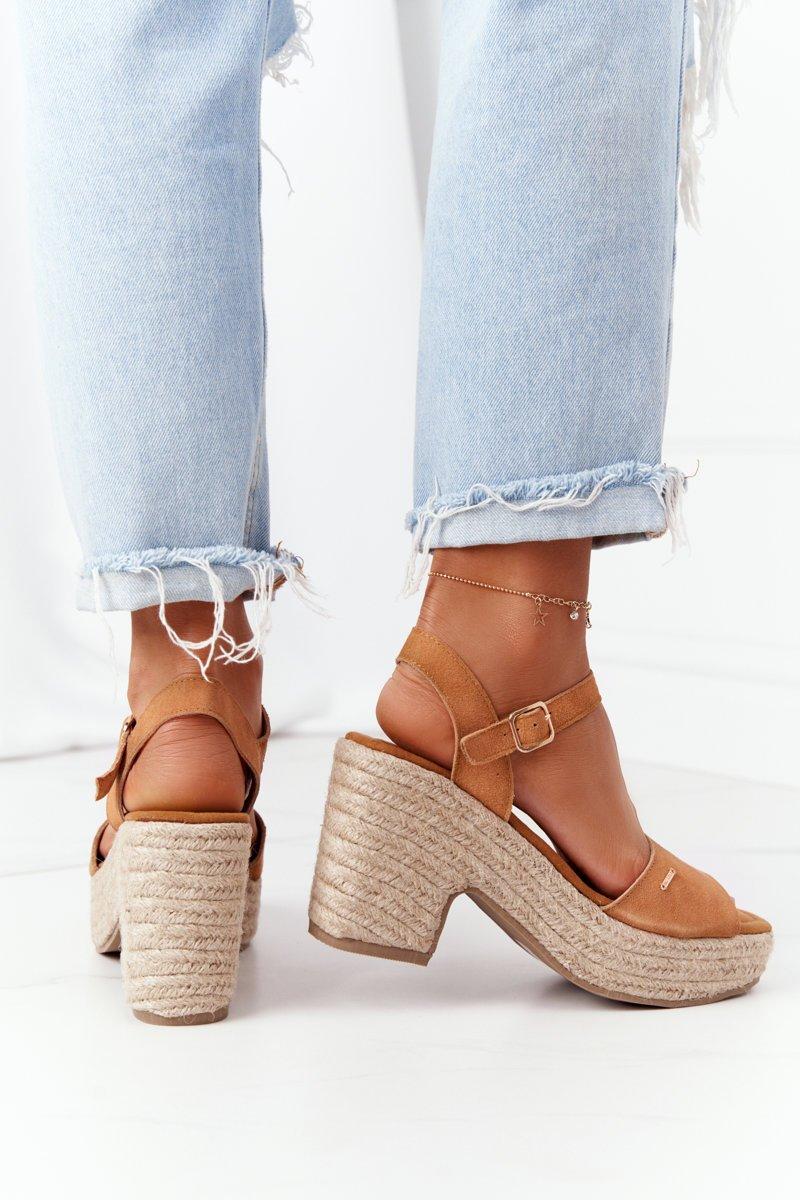 Braided Sandals On A Block Heel Big Star HH274394 Camel