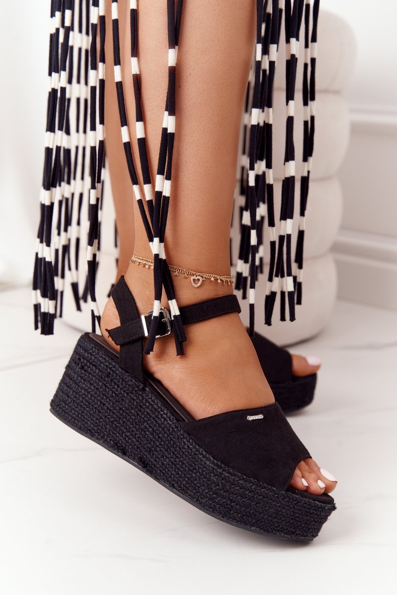 Braided Wedge Sandals Big Star FF274750 Black