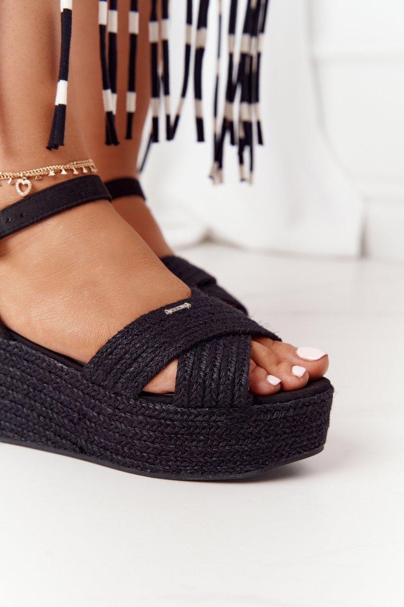 Braided Wedge Sandals Big Star FF274762 Black