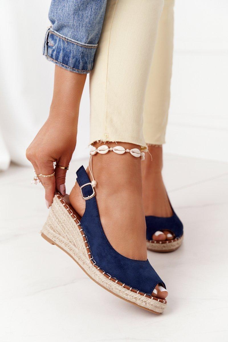 Braided Wedge Sandals Navy Blue Las Palomas