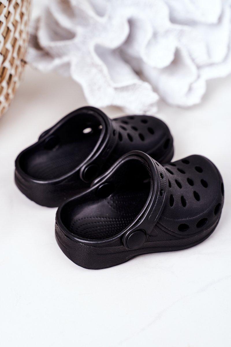 Children's Foam Slides Black Lucas