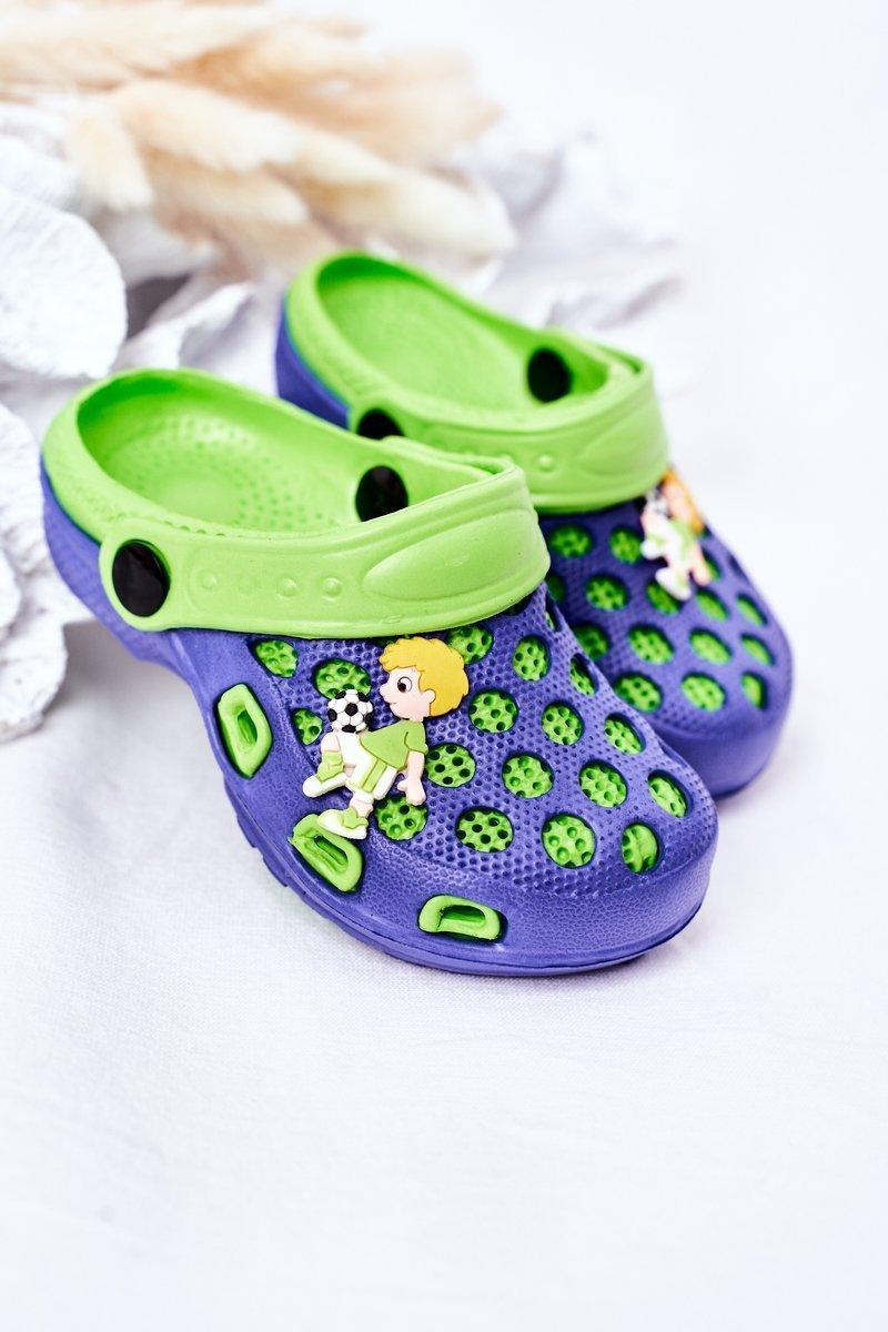 Children's Foam Slippers Crocs Navy-Green Jupiter