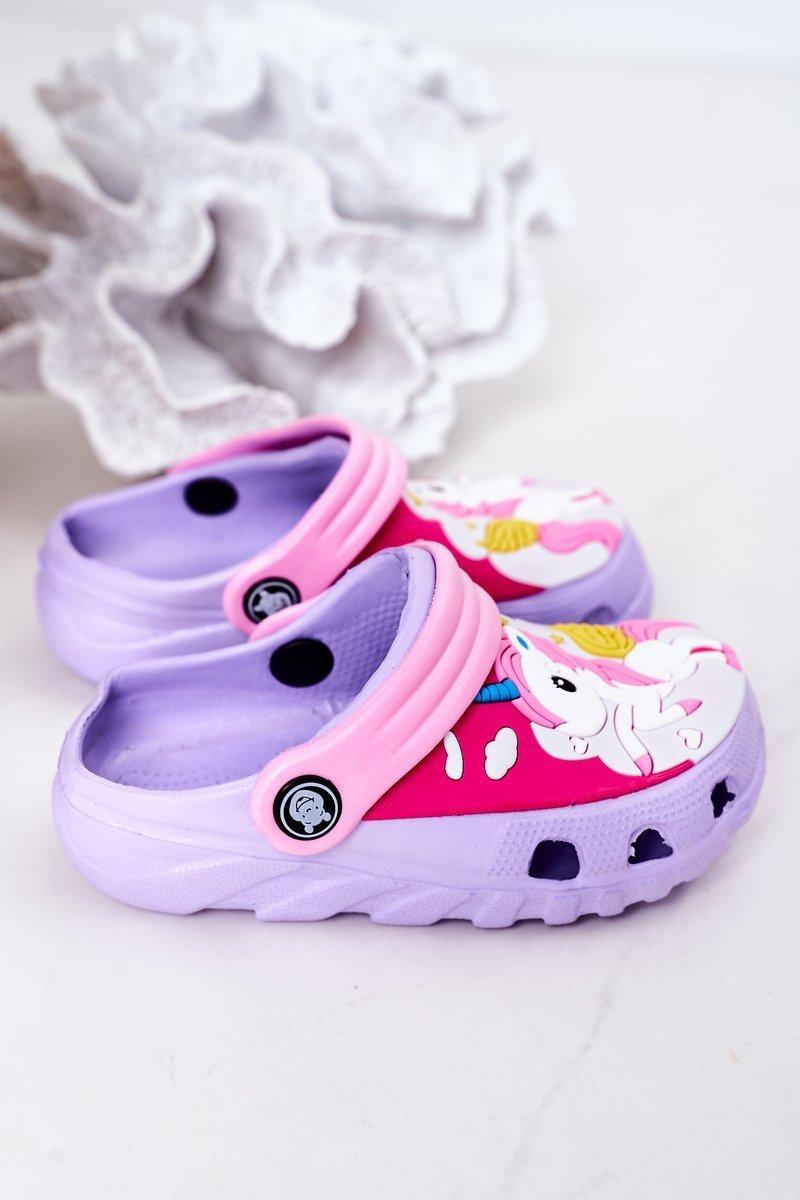 Children's Foam Slippers With A Unicorn Purple