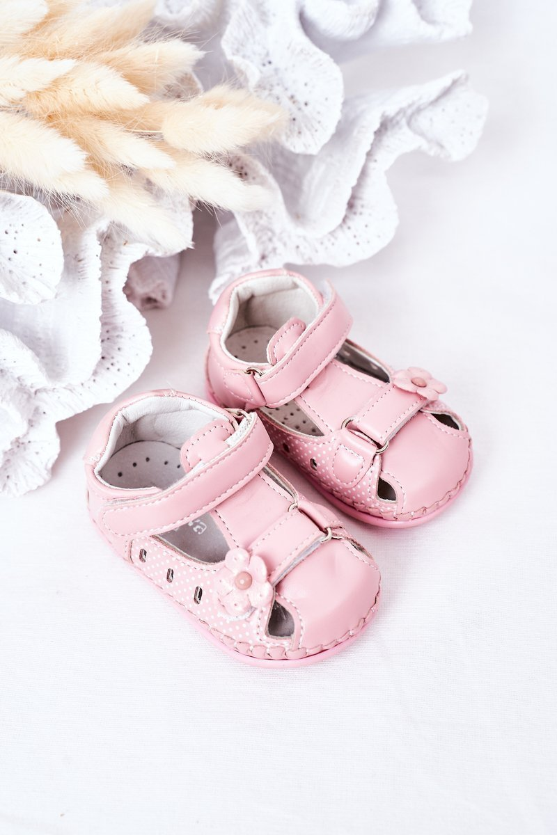 Children's Leather Sandals With Velcro Pink Flowers