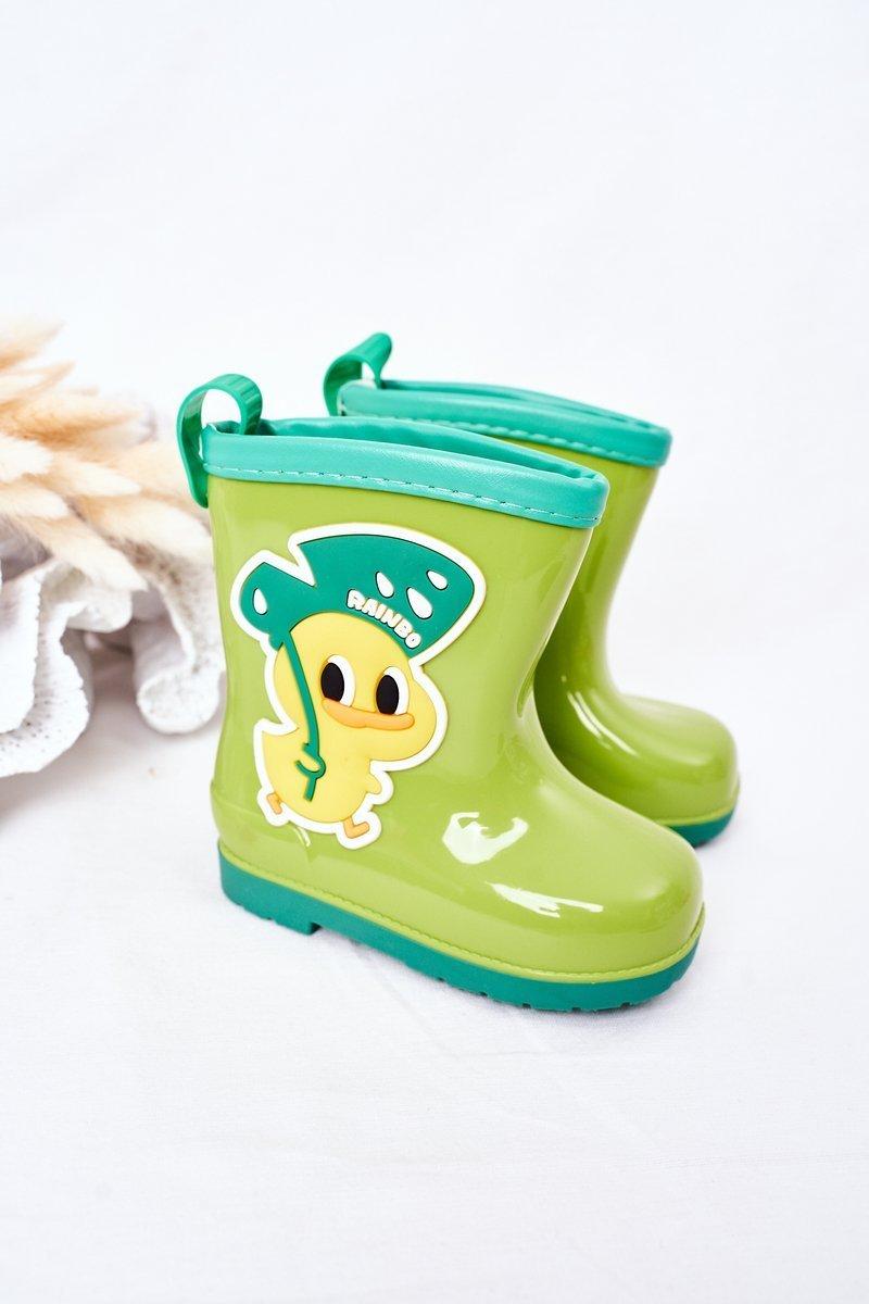Children's Rain Boots With A Duck Green