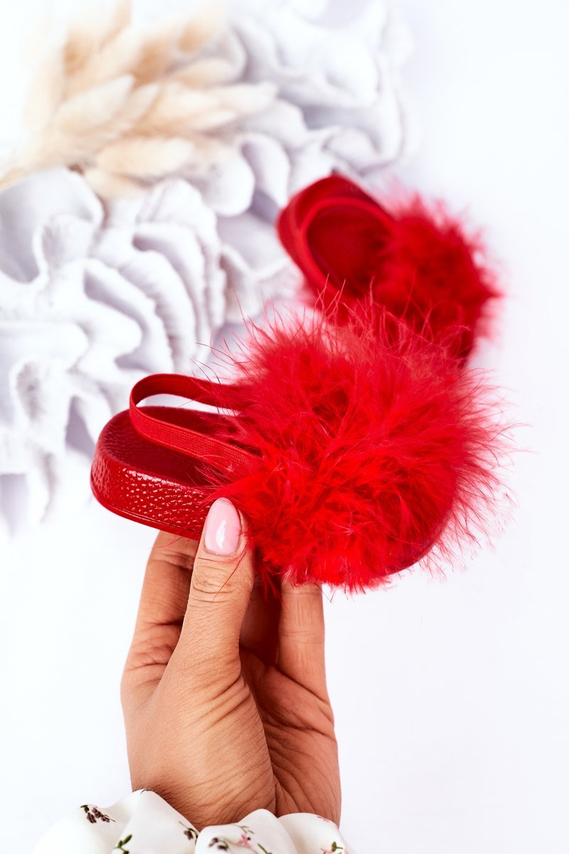 Children's Rubber Slippers With Eco Fur Red Skylar