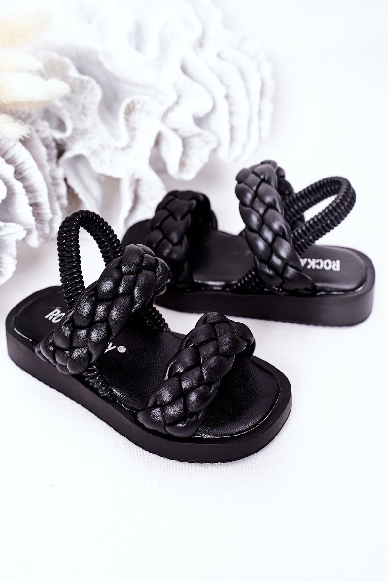 Children's Sandals With Drawstring Black Cutie-Pie