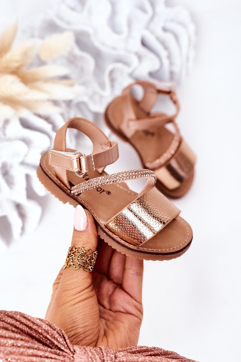Children's Sandals With Sequins Rose Gold Blake