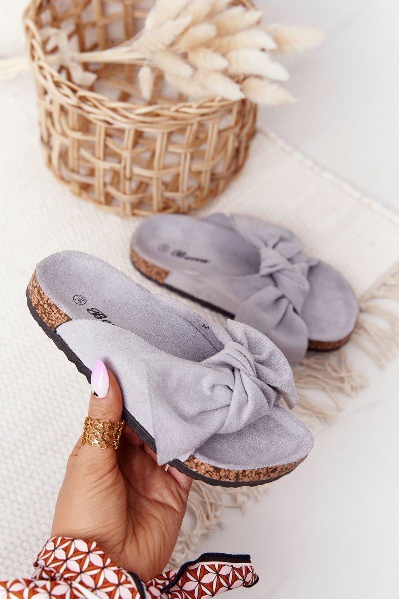 Children's Slippers On Cork Grey Little Wendy