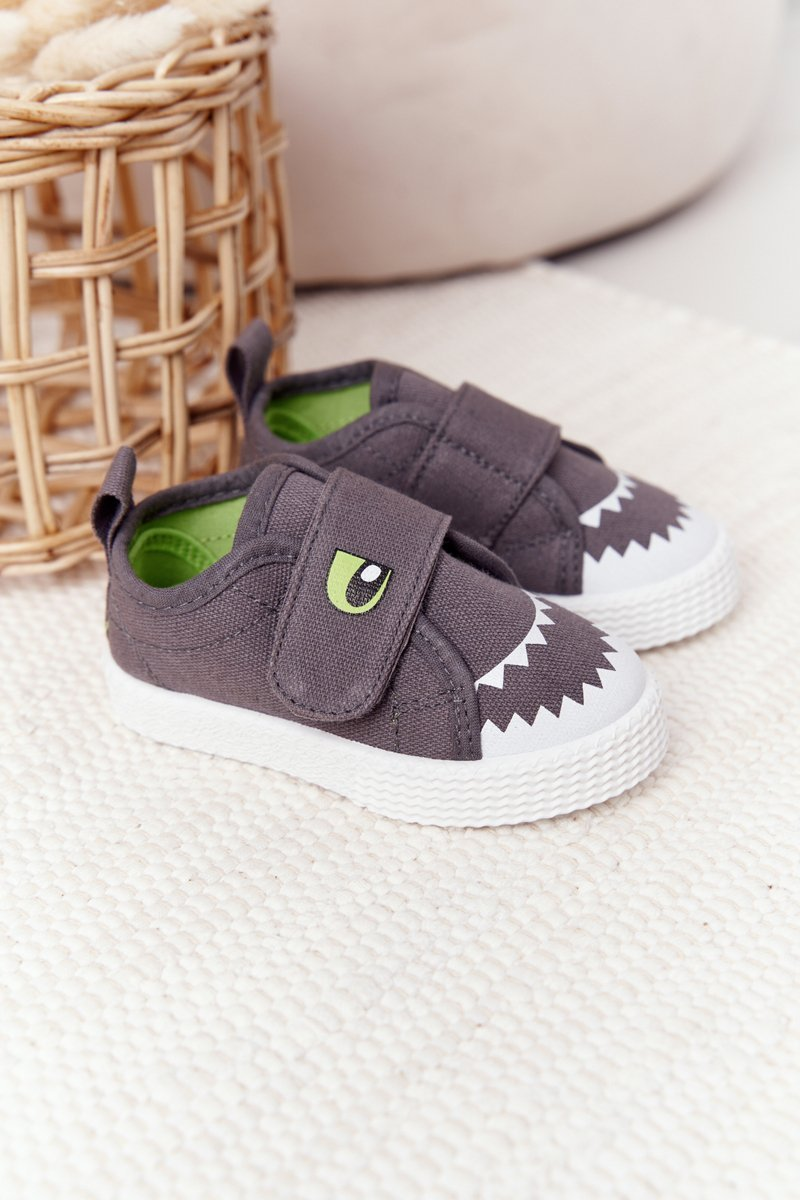 Children's Sneakers With Velcro With A Shark Grey