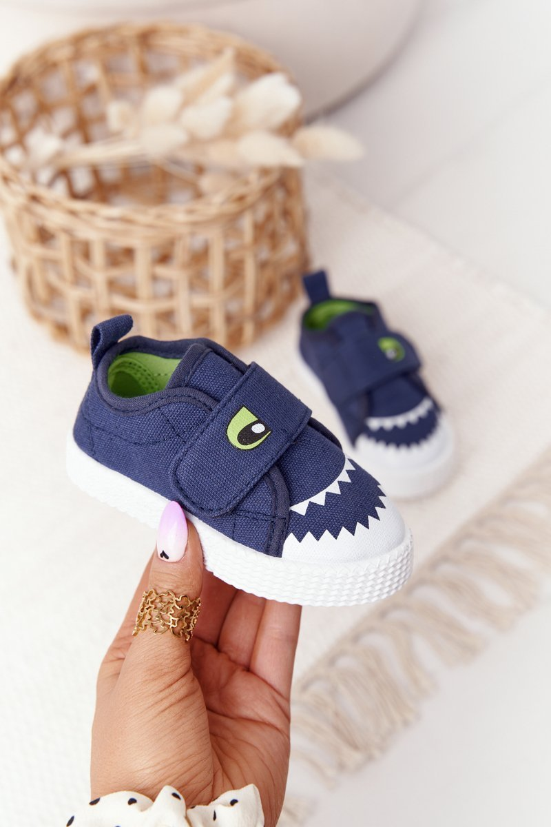 Children's Sneakers With Velcro With A Shark Navy Blue