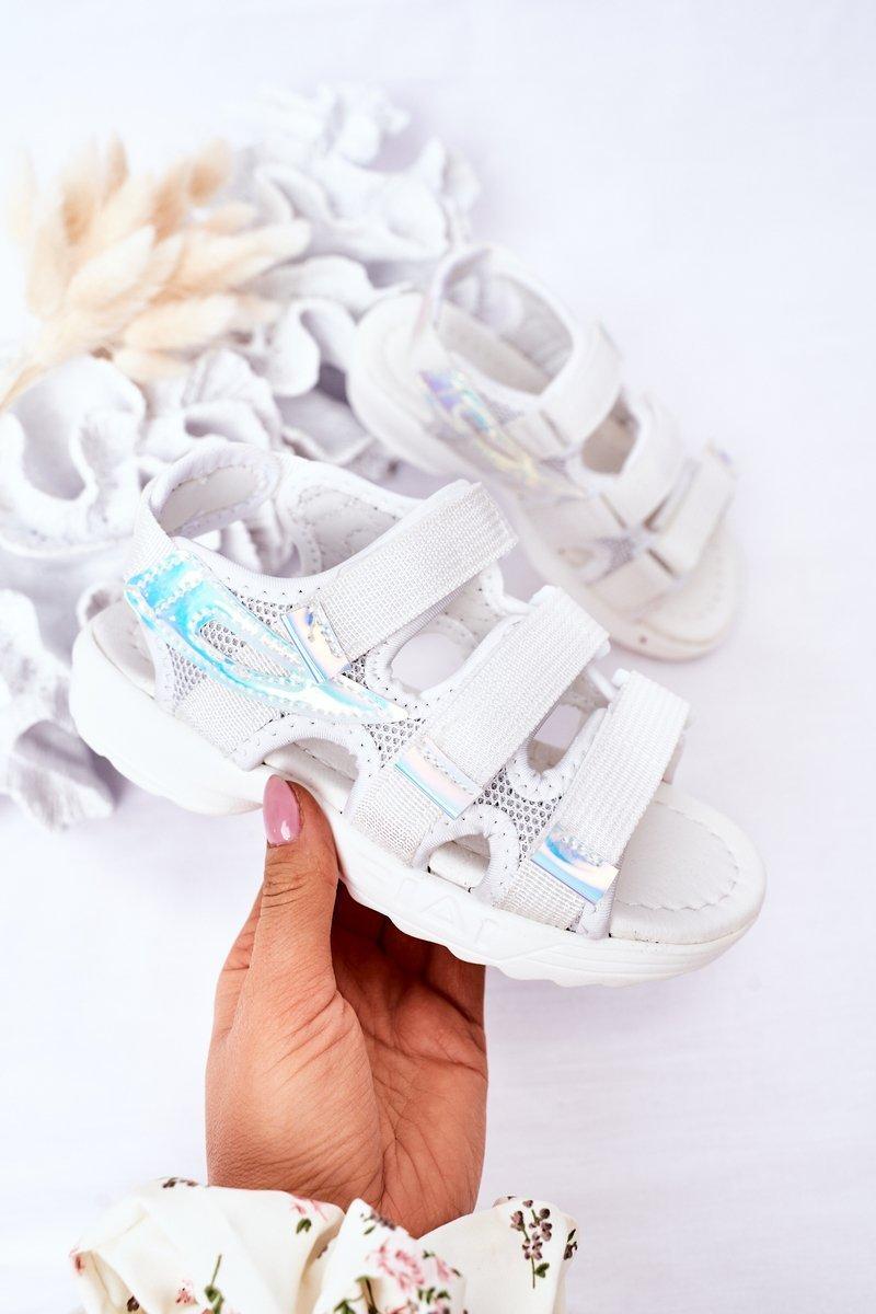 Children's Sport Velcro Sandals White Flyn