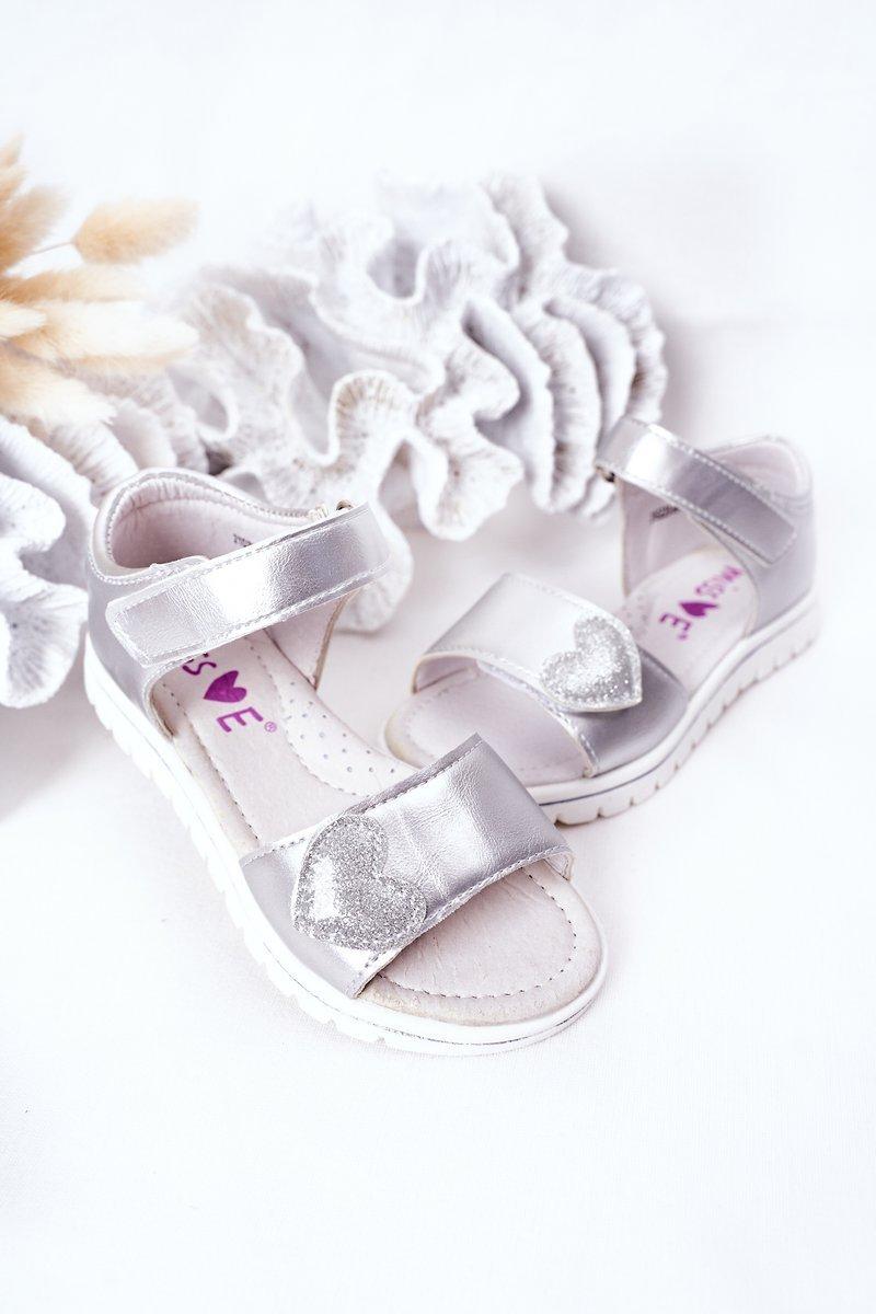 Children's Velcro Sandals Silver Sweetheart