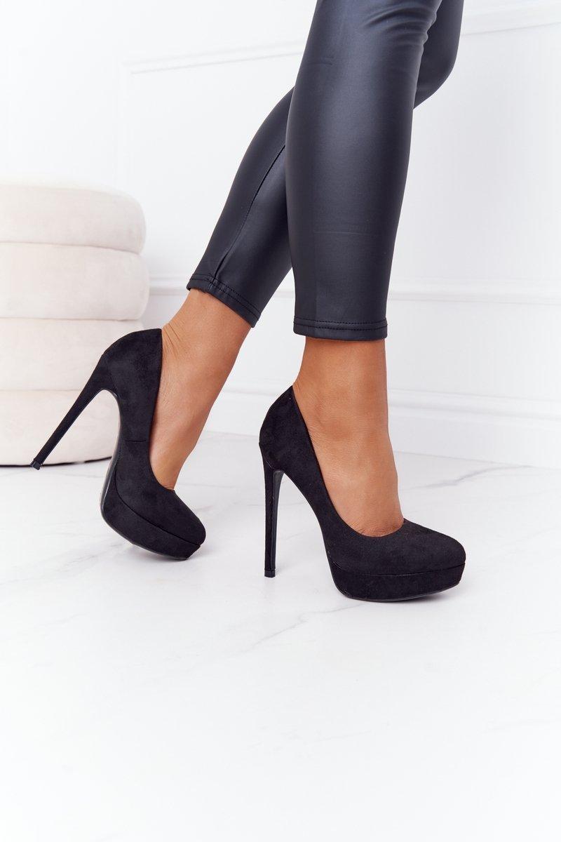 Classic Suede High Heels Black Margharita