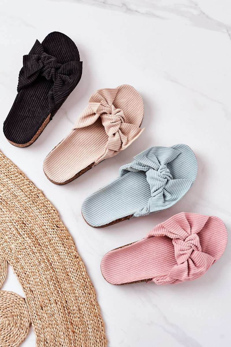 Corduroy Slippers On The Cork Sole Pink Summertime