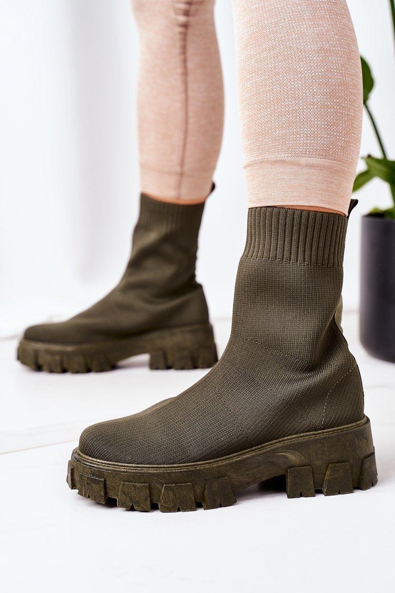Elastic Fabric Boots On The Platform Green Inspiration