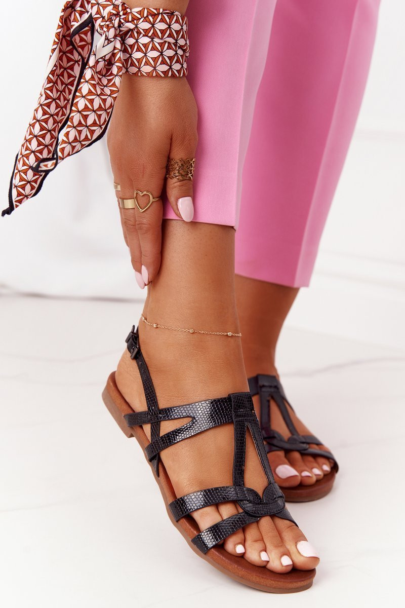 Elegant Leather Sandals S.Barski 541-A Black