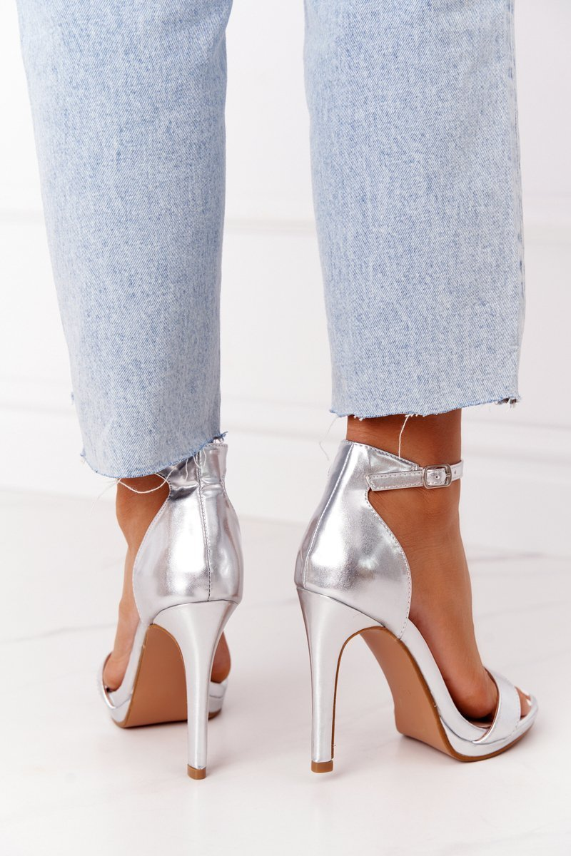 Elegant Sandals On High Heel Silver Glamour