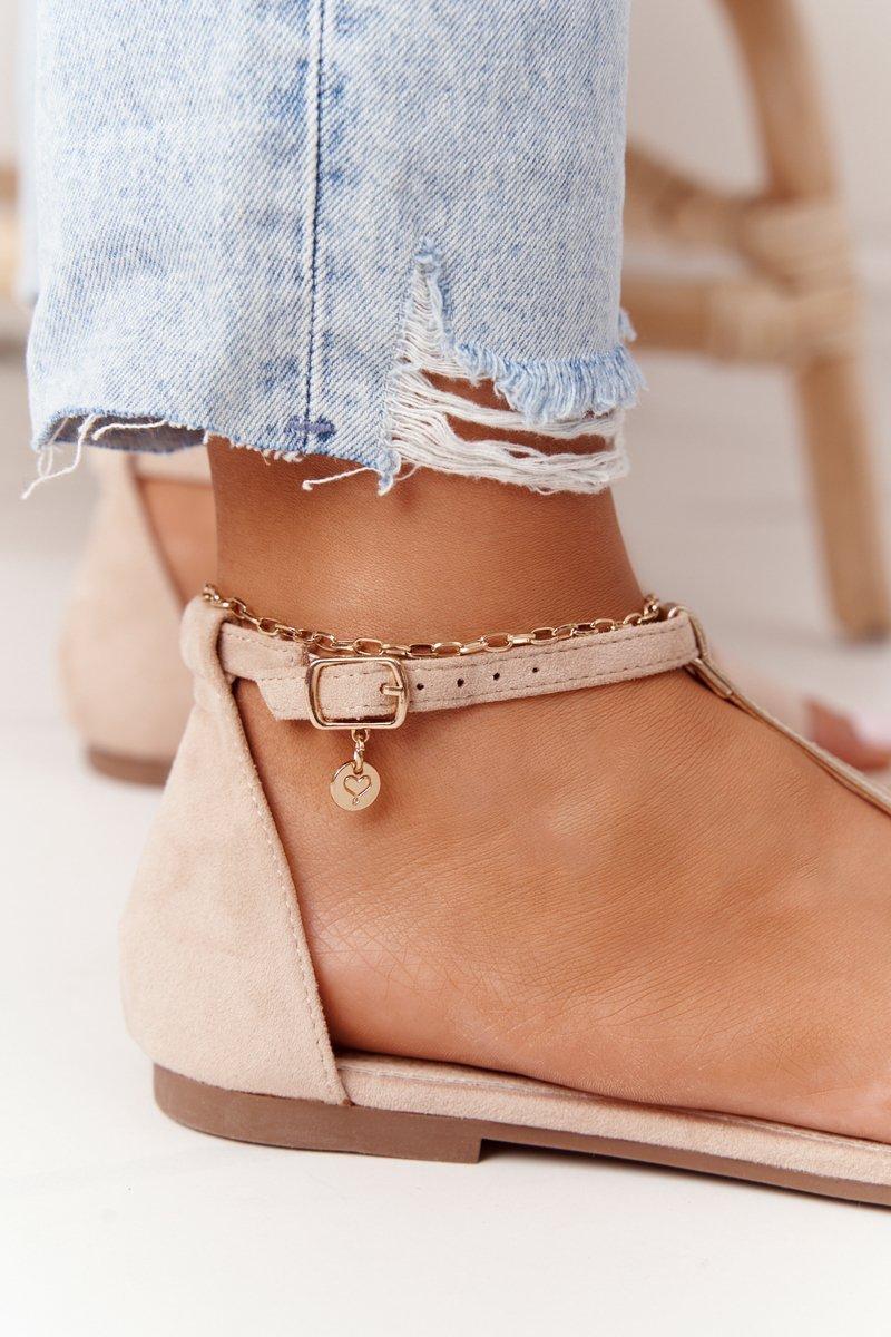 Elegant Suede Sandals S.Barski 541-7 Beige