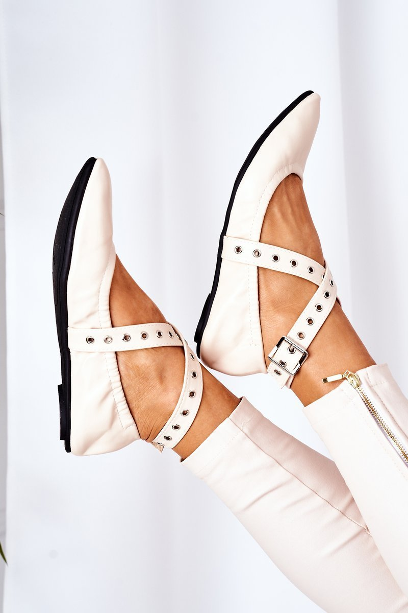 Folded Leather Ballerinas Lu Boo Beige