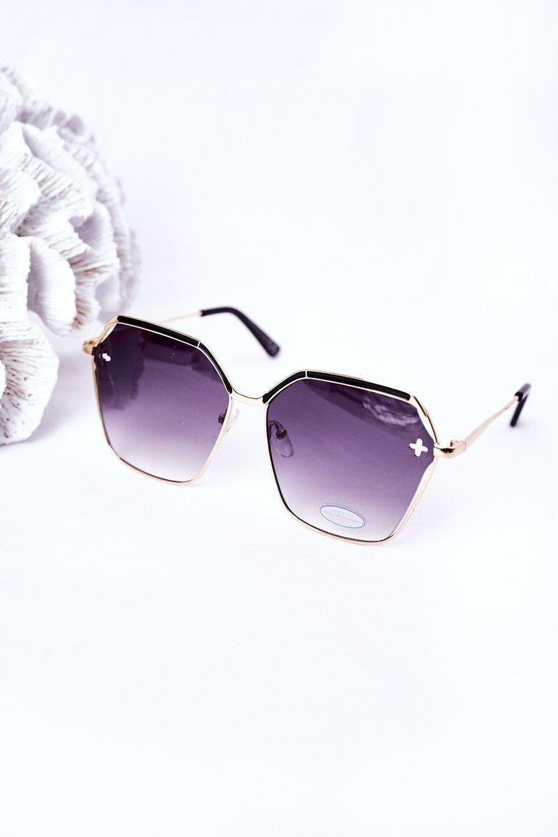 Gold Geometric Sunglasses Black Ombre