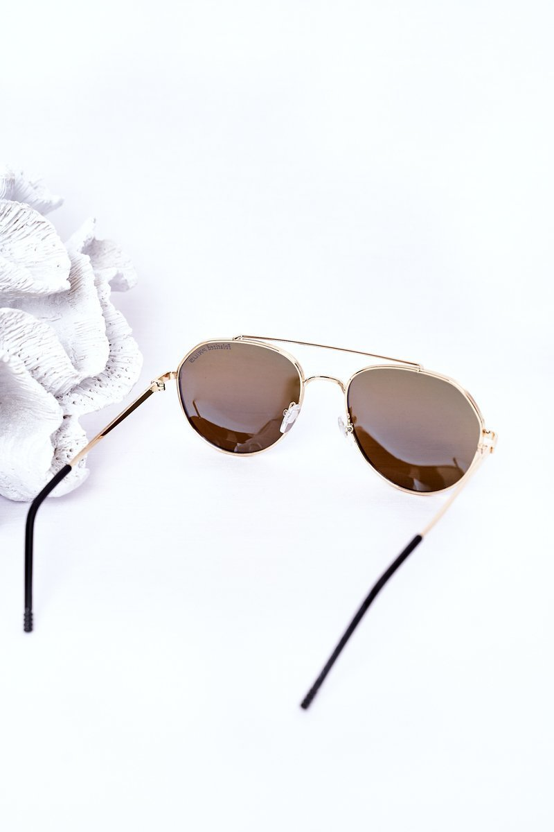 Gold Polarized Aviator Sunglasses With Blue Lenses