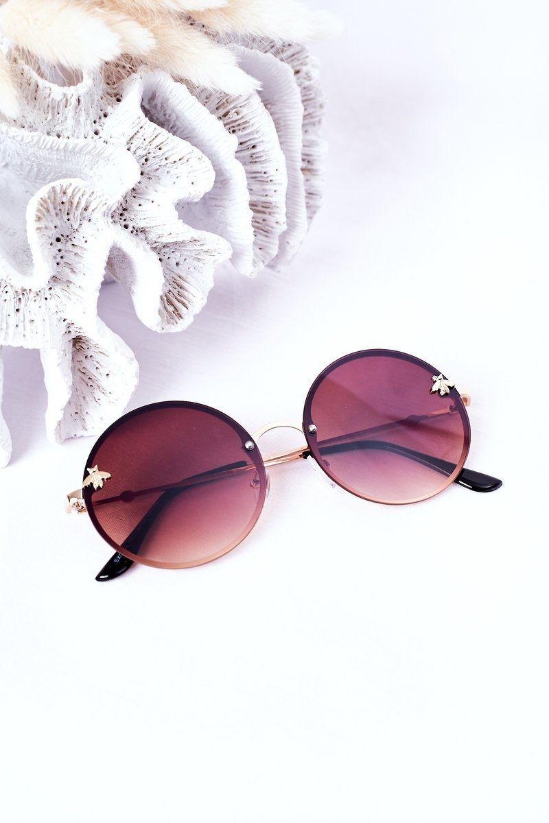 Gold Sunglasses With A Fly Brown Ombre