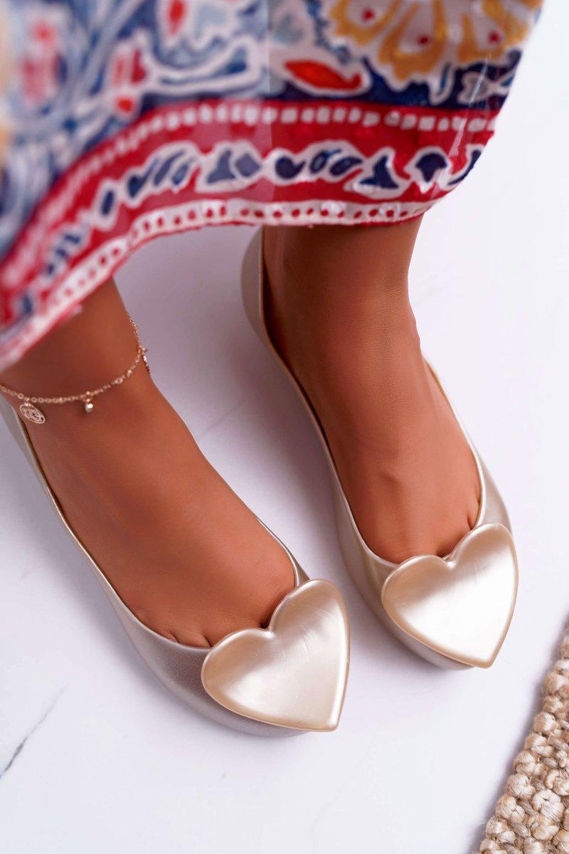 Gold Women's Heart Ballerinas Diamond
