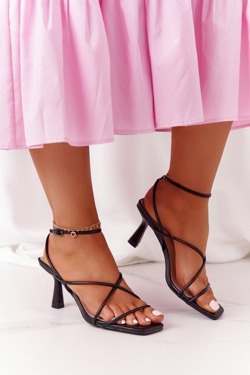 High Heel Sandals With Square Toe S.Barski C420-11 Black