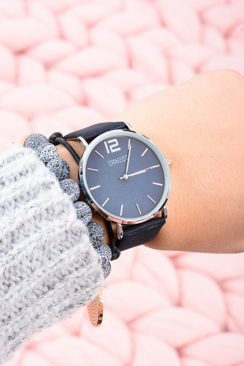 Klasyczny Skórzany Granatowy Damski Zegarek Ernest