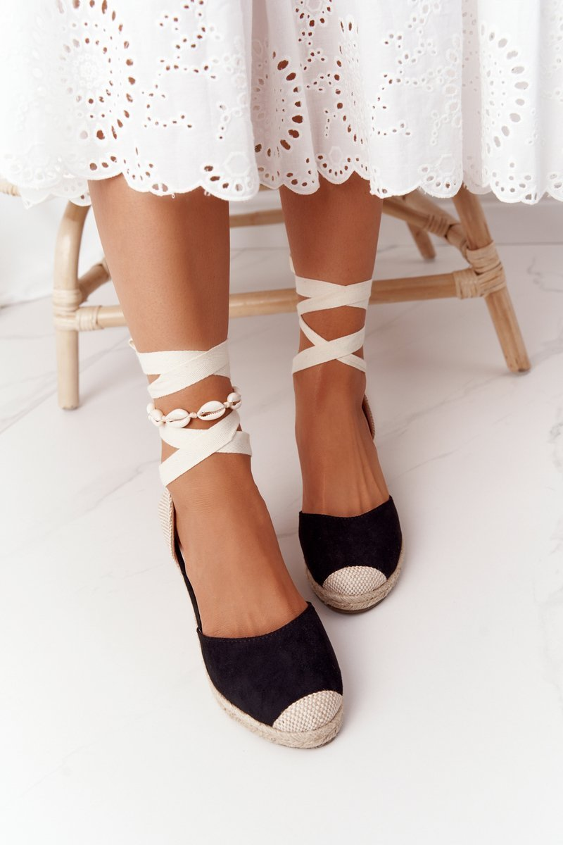 Lace-Up Braided Wedge Sandals Black Nelly