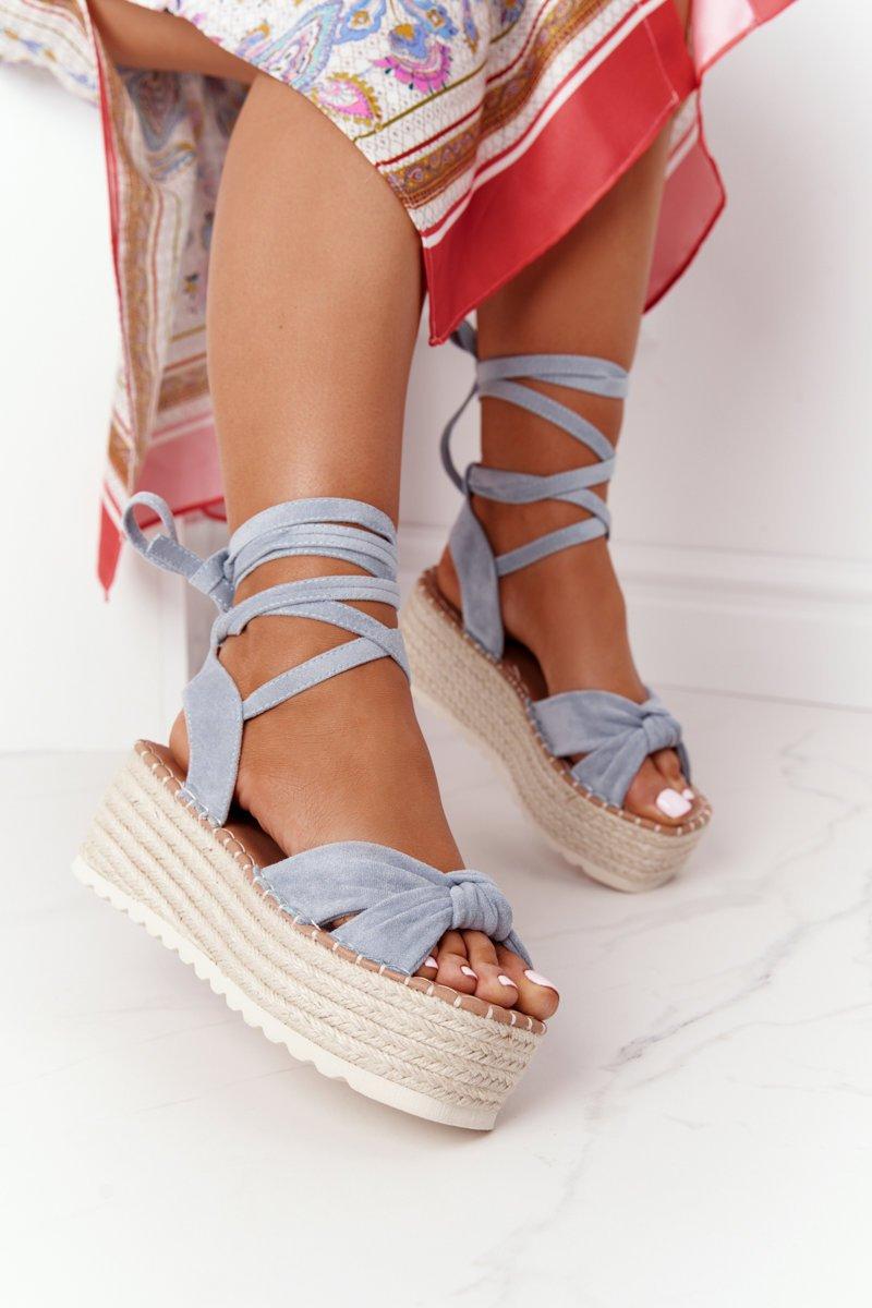 Lace-up Sandals On A Braided Platform Blue La Palma
