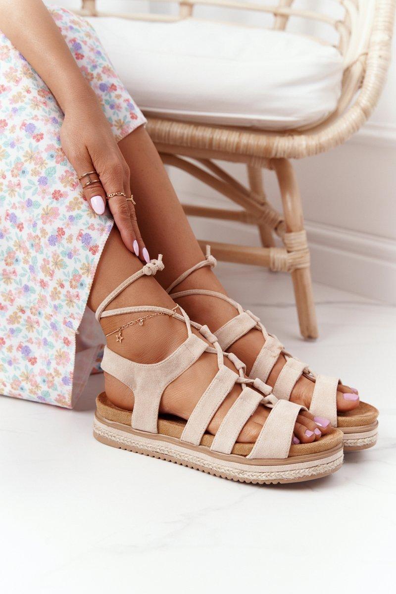 Lace-up Sandals On A Platform Beige Santorini