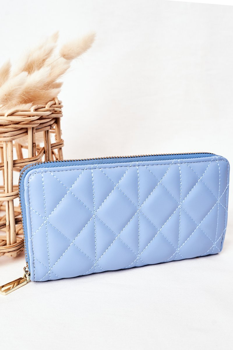 Large Quilted Women's Wallet Blue