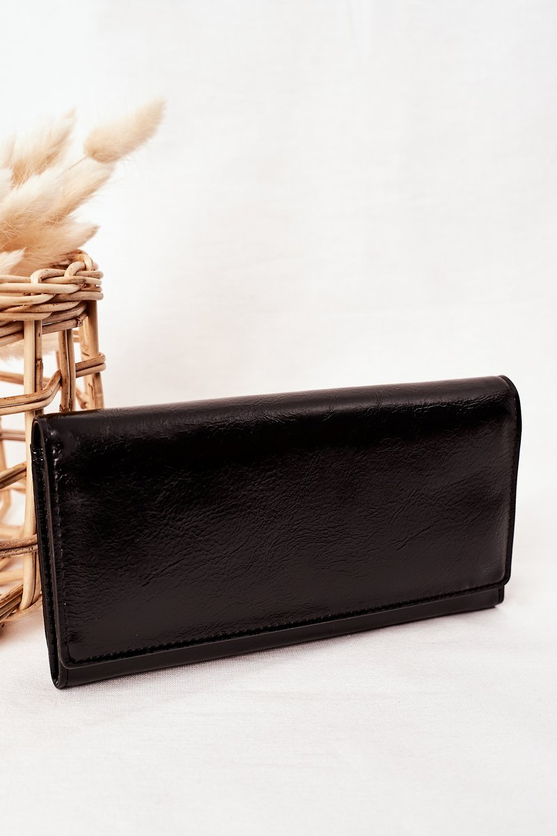 Large Women's Wallet With A Magnet Black