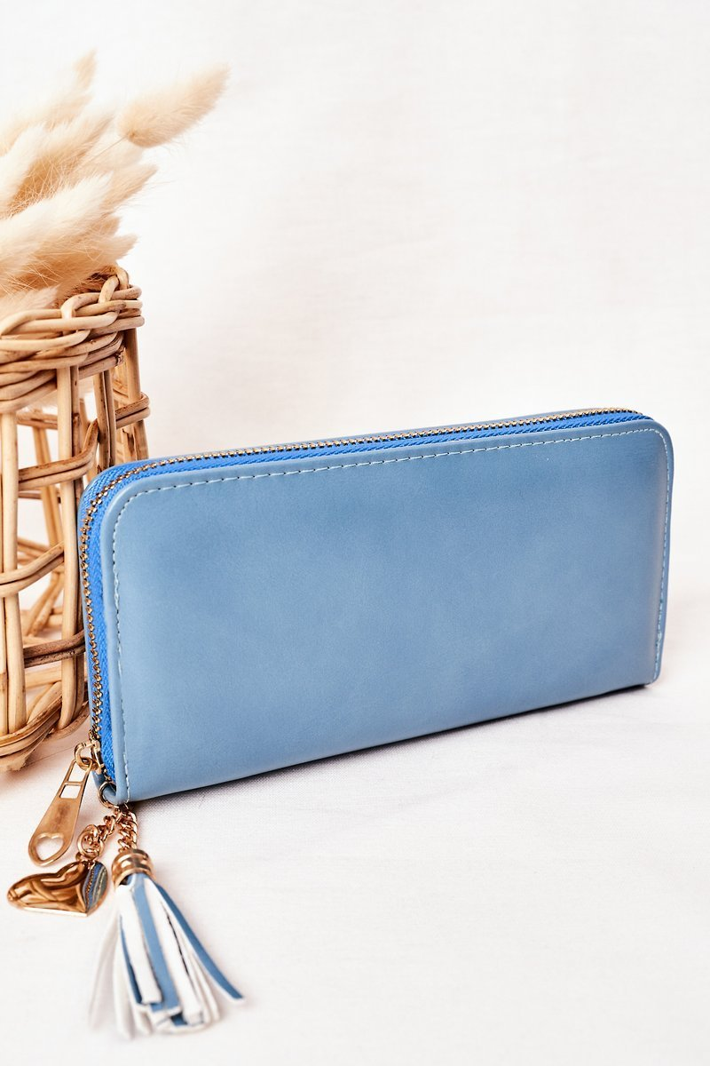 Large Women's Wallet With A Pendant Blue