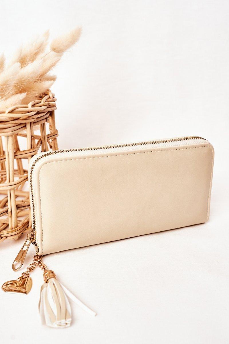 Large Women's Wallet With A Pendant Ecru