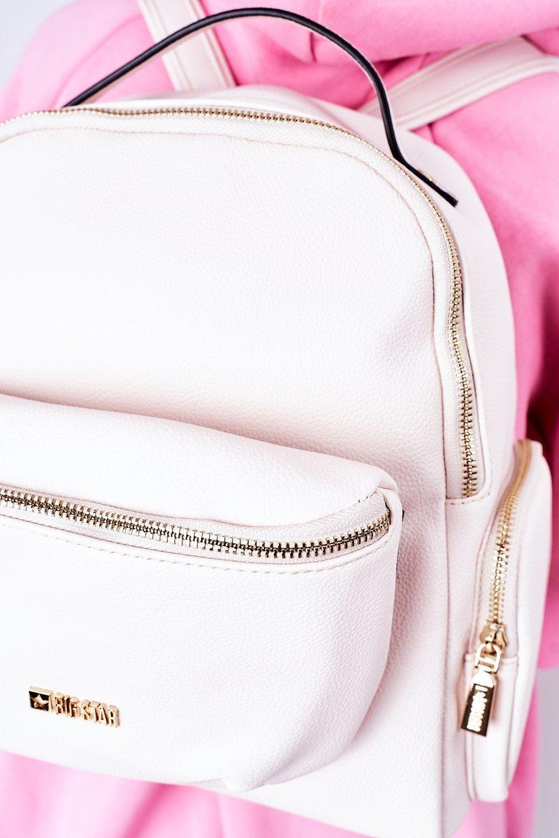 Leather Backpack / Kidney Bag 2in1 Big Star HH574060 Beige