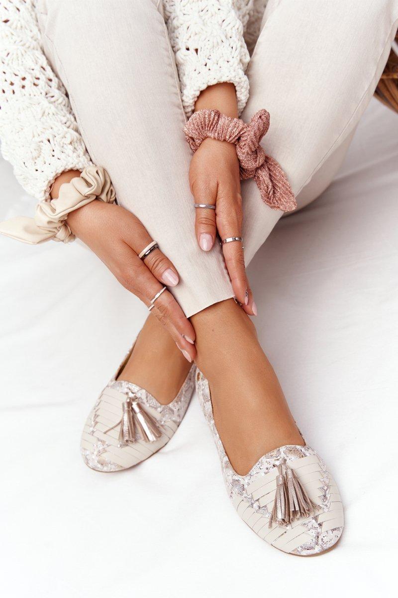 Leather Ballerinas With Fringes Maciejka 04016-25 Beige-Gold