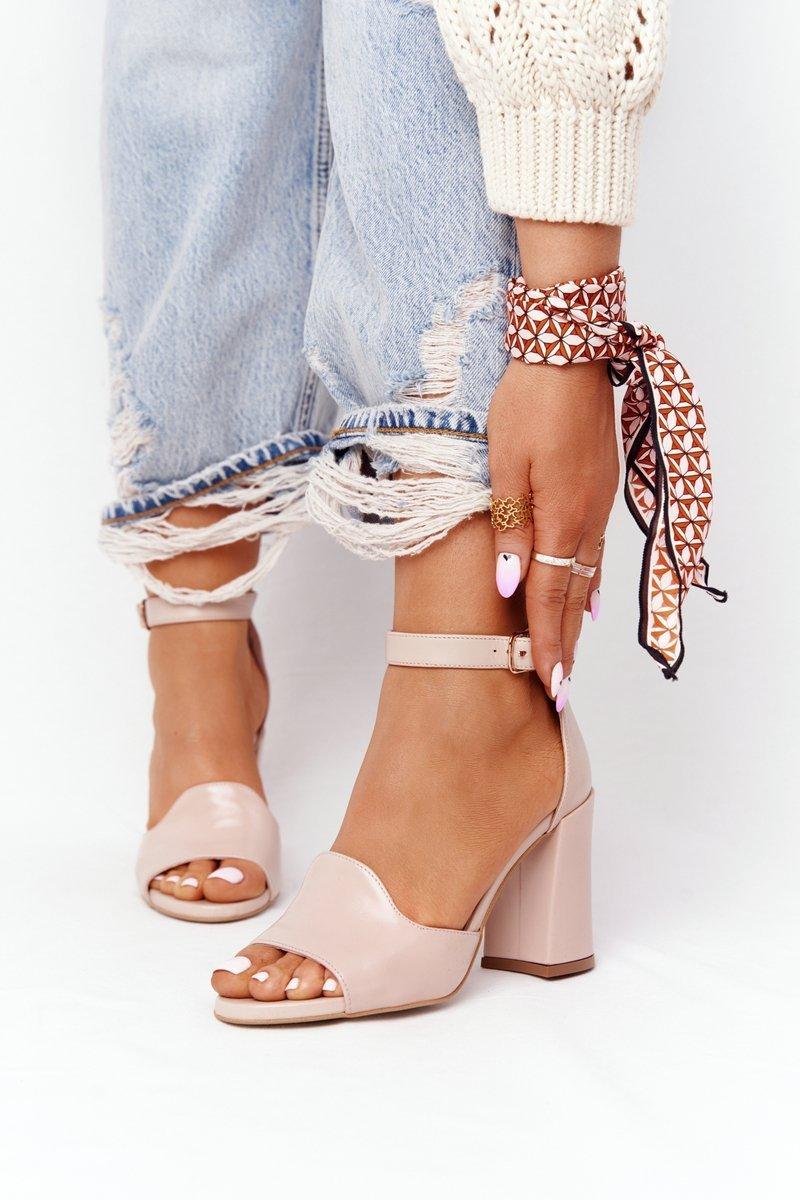 Leather High Heel Sandals Visconi 4361537 Nude