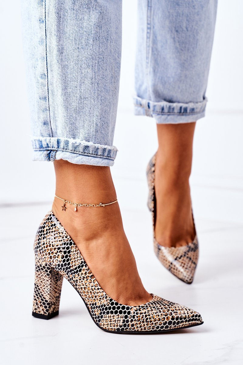Leather Pumps With Animal Pattern Lewski Shoes 2453 Black-Beige