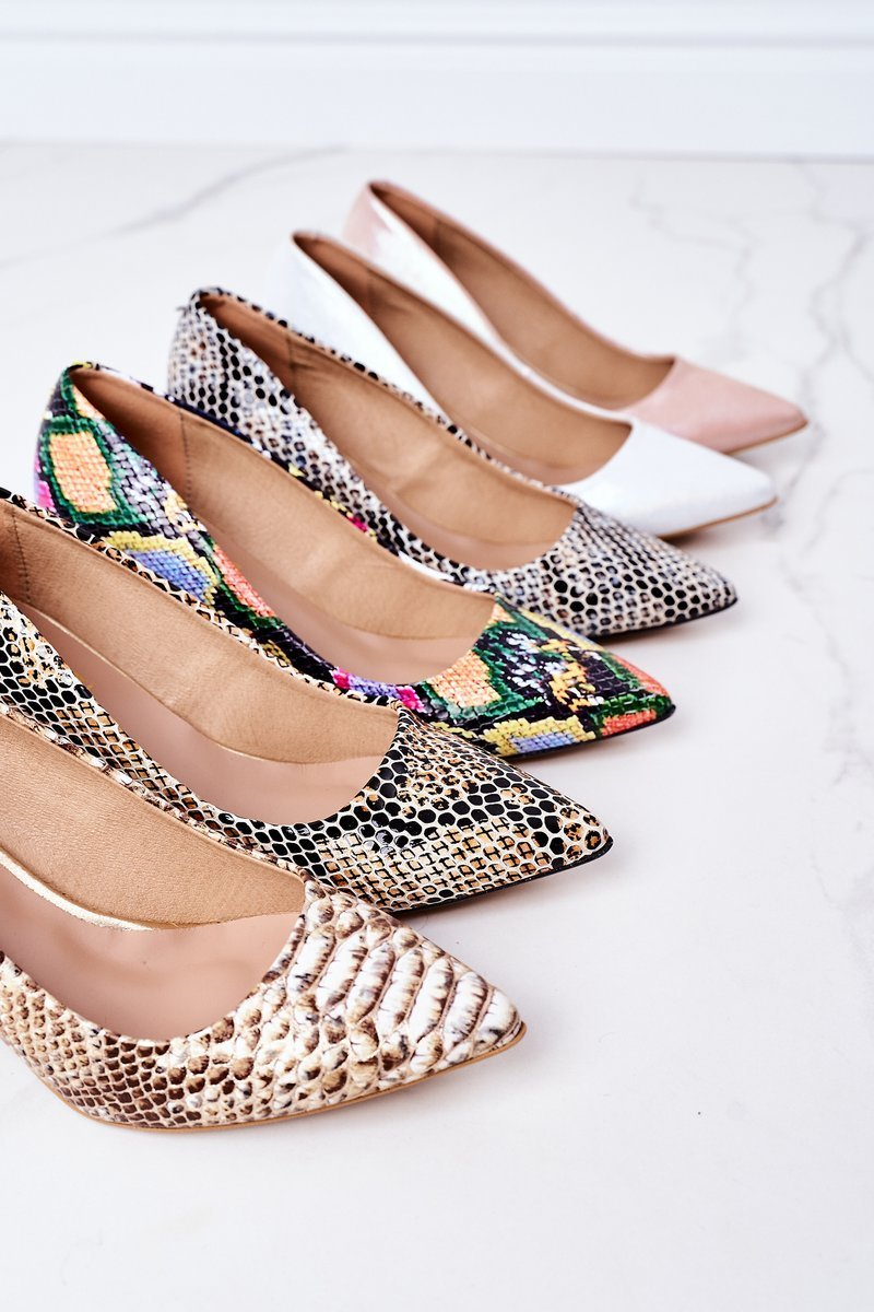 Leather Pumps With Animal Pattern Lewski Shoes 2801 Black-Beige