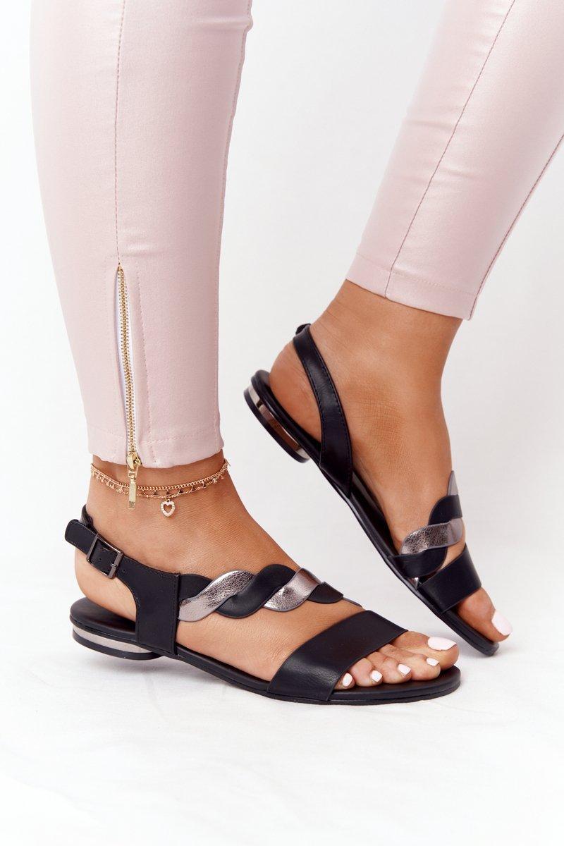 Leather Sandals Vinceza 21-17117 Black-Silver