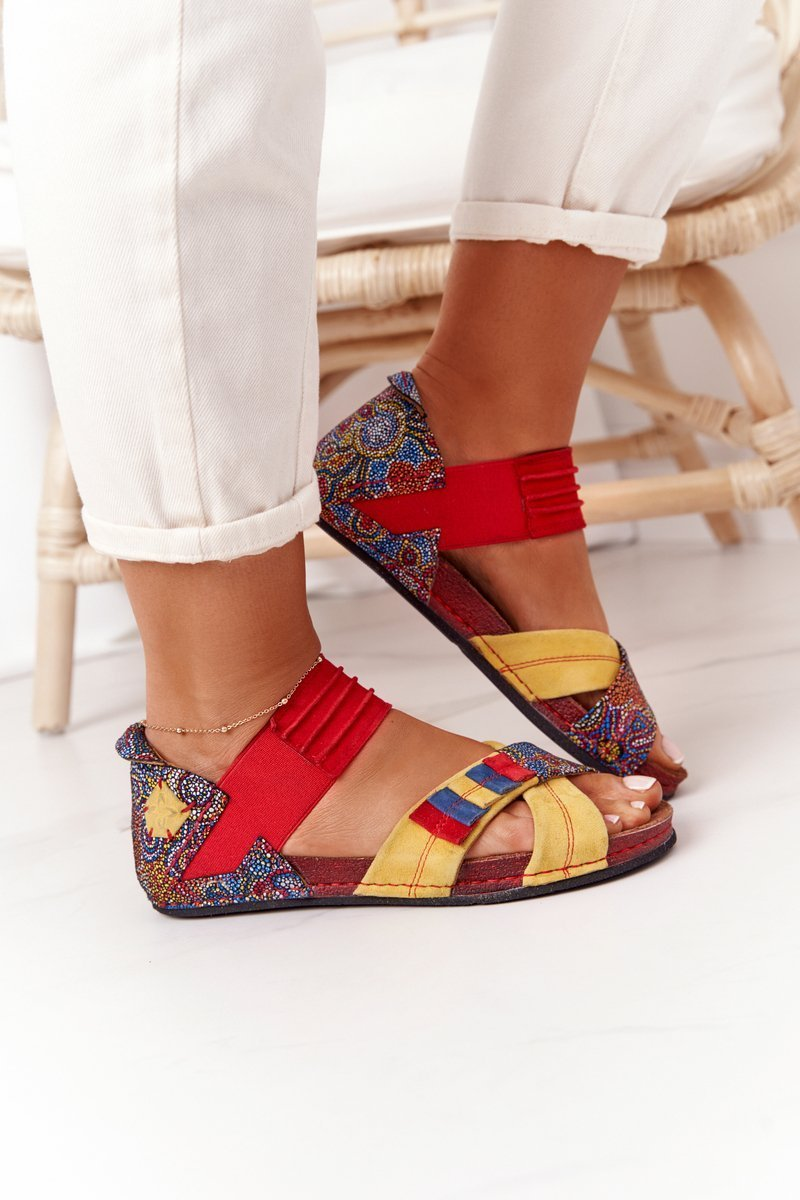 Leather Sandals With Drawstring Maciejka 03375 Red-Yellow