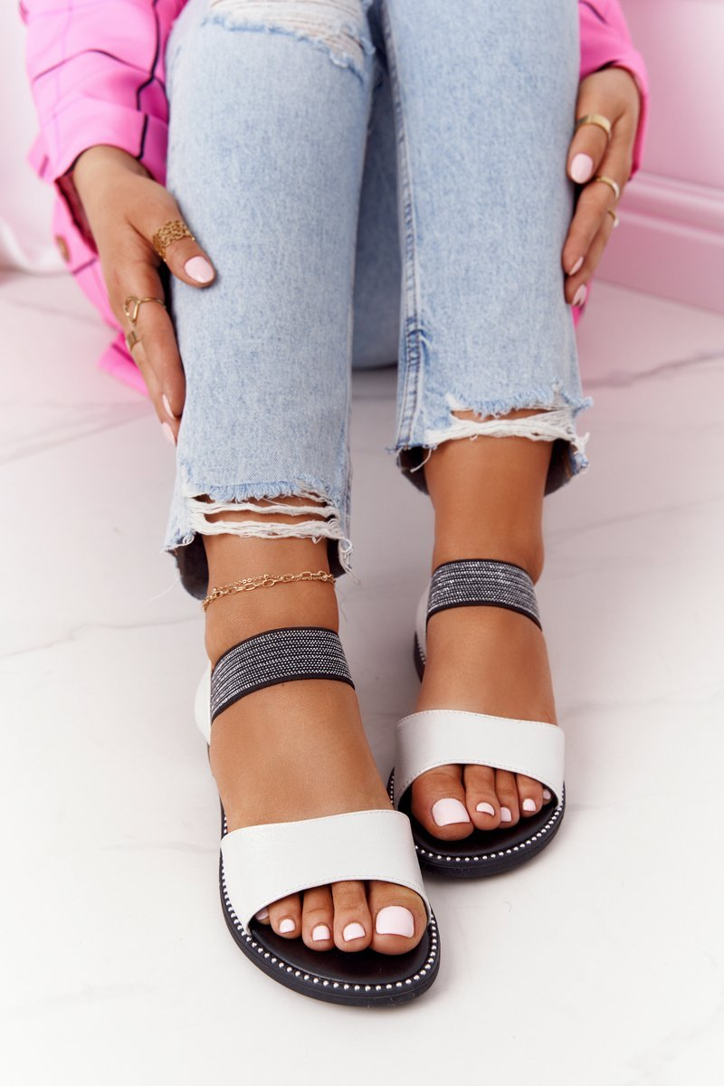 Leather Sandals With Drawstring S.Barski 934-19 Silver